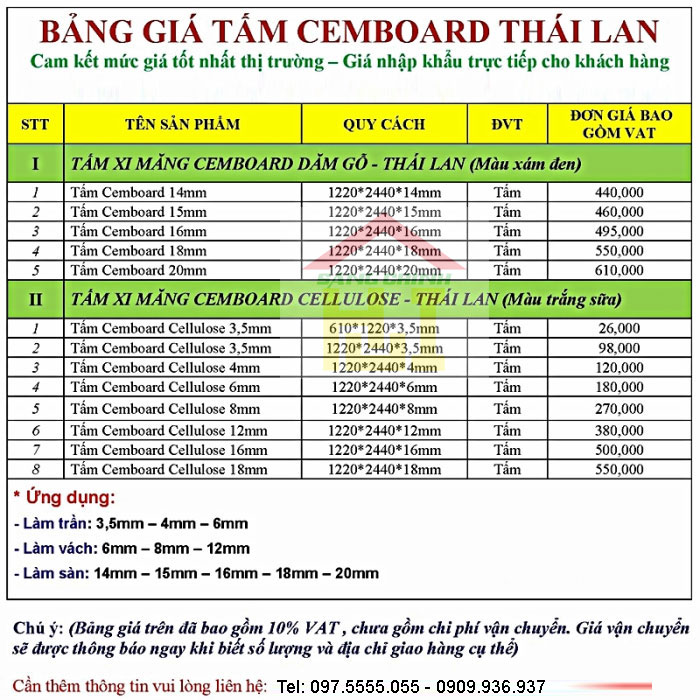 bang bao gia tam cemboard, bảng báo giá tấm cemboard